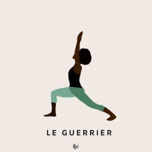 Position du guerrier , la posture de yoga ayurvédique de Gingerly